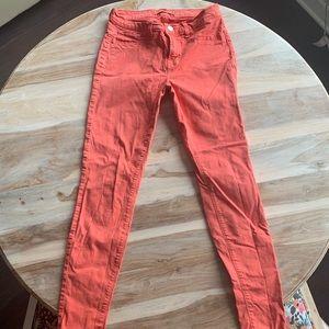 J Brand Skinny Coral Tangerine Jeans